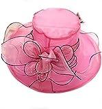 YUEMING Mujeres de Sol Sombrero,Sombrero de Organza para Mujer, Cinta Floral de ala Ancha para Damas, Derby Iglesia Vestido Sombrero Bucket Boda Bowler Sombreros (Rosa)