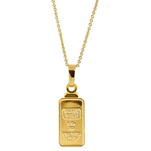 American Coin Treasures 1 Gram Swiss Ingot Replica Pendant Layered in 24KT Gold