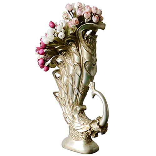 Vaas voor het decoreren van vazen van kunsthars in pauwenvorm, voor thuis, woonkamer, TV-kasten, bloemenarrangementen (dit product verkoopt alleen vazen)