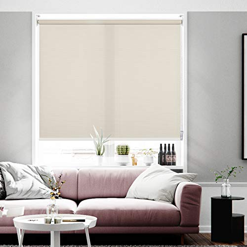 Didoya Light Filtering Roller Shades, Classic Privacy Room Darkening Roller Blinds, Sun Filtering Fabric for Home, Living Room, Office Windows, Support Custom Cut to Size,30' W x 68' H (Beige Yellow)