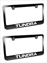 Estodia Black Tundra Stainless Steel License Plate Frame Cover Holder Metal with Screws Caps for Toyota Tundra Universal (2)