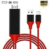 Compatible con teléfono Pad a HDMI Cable HDMI para Phone, 1080P Digital AV HDMI Adaptador para Phone XS/XSmax/XR/X/8/7/6/Plus Pad Pod to TV negro