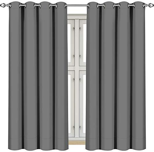Utopia Bedding Vorhang - 2 Stück - Verdunkelungsvorhang, wärmeisolierende Fenstervorhänge / -verkleidung (Grau, 137 x 117 cm)