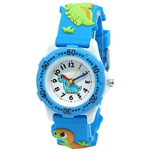 OUTEYE Reloj para niños Reloj Impermeable con Banda de Silicona de Dibujos Animados de Dinosaurios 3D Los Mejores Regalos para niños y niñas