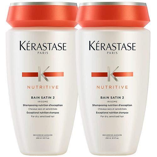 Kerastase Nutritive-Bain Satin 2-Shampoing pour cheveux secs/sensibilisés, 250 ml (lot de 2)