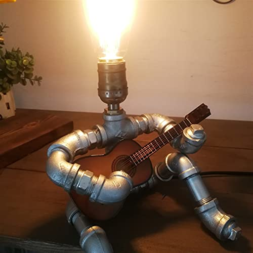 A-Lan Steampunk Style Table Lamp - Guitar Player, Creative Iron Industrial Water Pipe Robot Lamps, Retro Style Steampunk Light Cool for Office,Bedroom,Living Room in Bronze (Color : with Guitar)