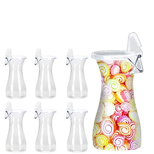 Tiger Chef 12 Ounce Clear Acrylic Carafe With Spout And Lid Serving Wine Juice Beverage Decanter Jar BPA free 6 Pack
