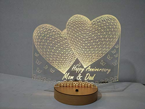 DESIGN ELLE Crystal Personalised Any Name and Message 2 Heart 3D Illusion Lamp (Gold)