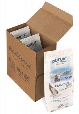 purux Totes Meer Salz Badesalz Naturweiß 3x 1kg nachhaltig verpackt