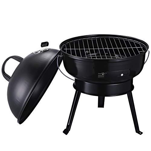 barbecue a carbonella outsunny Outsunny Barbecue da Viaggio Compatto Leggero | Coperchio con Ventola Regolazione Calore | Peso: 2kg | Ф36.5 x 54 cm