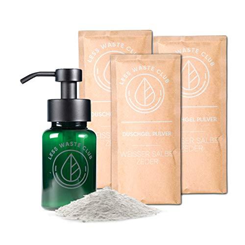 Less Waste Club Duschgel Pulver Starter Set Weisser Salbei - Zeder | Plastikfrei | nachhaltig |biologisch| umweltfreundliche abbaubare Kosmetik| Vegan | pH - Neutral