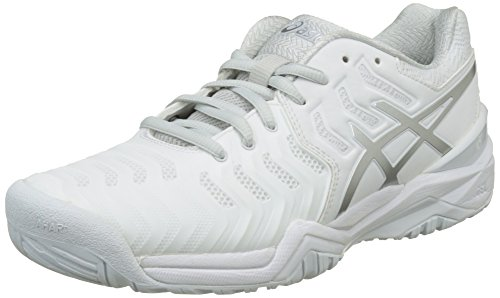 ASICS Gel-Resolution 7, Scarpe da Tennis Donna, Bianco (White/Silver), 39 EU