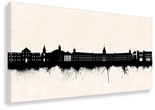 Skyline Karlsruhe SW (div. Größen) - Wandbild Leinwandbild auf Keilrahmen Streetart Kunst Druck Arbeitszimmerbild (50x100cm)