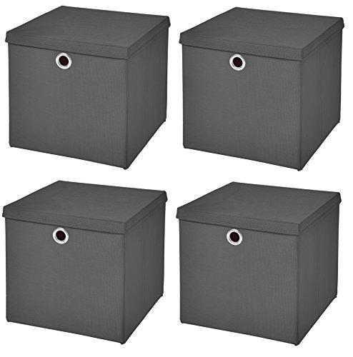 StickandShine 4er Set Dunkelgrau Faltbox 28 x 28 x 28 cm Aufbewahrungsbox faltbar mit Deckel
