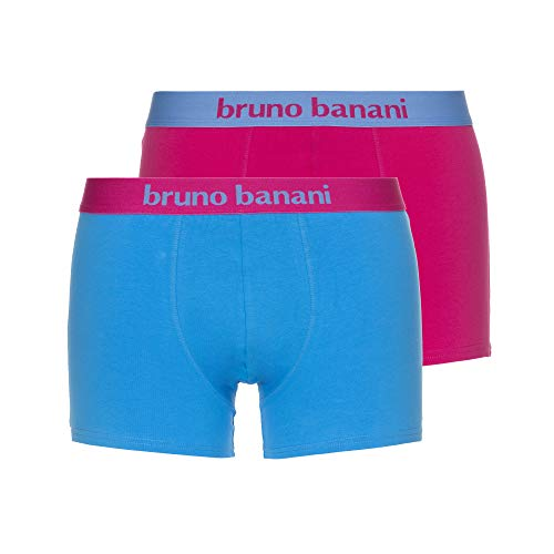 bruno banani Herren Short 2er Pack Flowing Boxershorts, Mehrfarbig (Fuchsia/Azur 4007), Medium