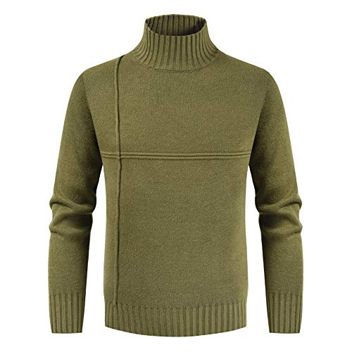 NQY Men's Knit Sweater Men Sweater High Collar Fine Knit Solid Color Simple All-Match Soft and Comfortable Men Tops Warm Loose Elastic Fiber Men Sweaters A-Army Green. 3XL