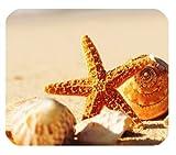 Yanteng Cáscaras y Estrellas de mar en el cojín de ratón Personalizado de Vacaciones de Verano de Arena de Playa