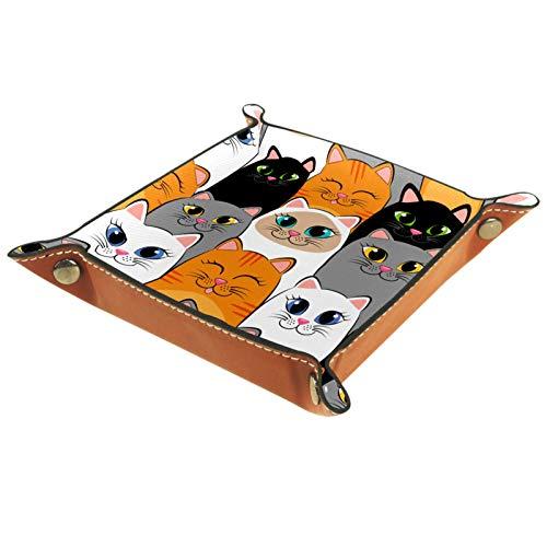 ZORE_FINE5 Ledertablett für Schmuck, Würfelspiele, Schlüssel, Münzen, Süßigkeiten, faltbar, 11,5 cm, große Augen