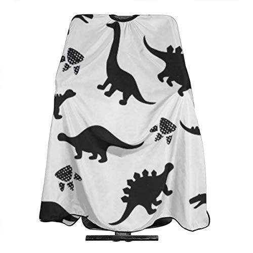 Barber Cape White Black Dinosaur Silhouettes Professional Salon Hair Cutting Capes For Hair Stylist Waterproof Haircut Hairstyling Clients Hairstylist Capes For Adult Men Women Kids