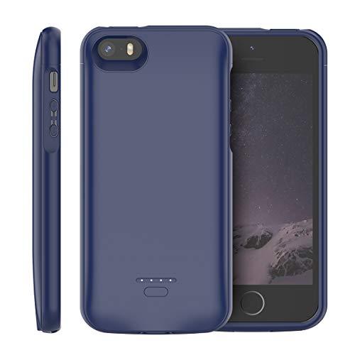 iPhone SE 5SE 5 5S Akku Hülle, 4000mAh Dünn Externe AkkuCase Aufladbar Batterie Ladehülle Integrierten Ersatzakku Ladegerät Power Bank Backup Extra Pack Schutzhülle (Blau)