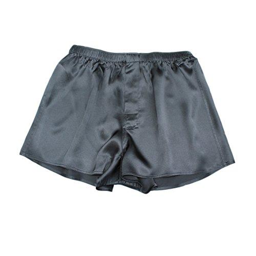 Jasmine Silk Herren 100% Seide Kurze/Pyjama Böden/Schlafanzughose Pyjamahose kurz │Thermoregulierende und atmungsaktive Funktions-Nachtwäsche Schwarz (Medium (33-35))