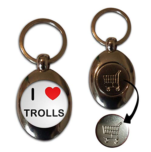 I Love Heart Trolls - £1/€1 Metal Shopping Coin Token Key Ring