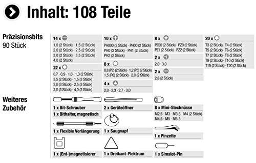 Meister Feinmechaniker-Set 108-teilig - Reparatur-Set für Smartphones, Tablets, PCs, Konsolen, Kameras, Uhren, Brillen, Modellbau & Co. / Repair-Tool-Kit / Präzisions-Schraubendreher-Satz / 3387780 - 3