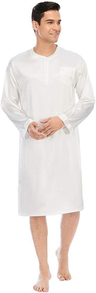 ZCF Mens Satin Silk Nightgowns White Nightshirt Soft Long Sleeves Sleepwear Spa Bathrobe L-XXXL (Color : White, Size : X-Large)