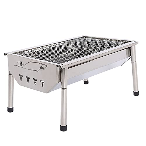 Charcoal Grill Barbecue Portable BBQ - Stainless Steel Folding BBQ Kabab grill Camping Grill Tabletop Grill Hibachi Grill for Shish Kabob Portable Camping Cooking Small Grill