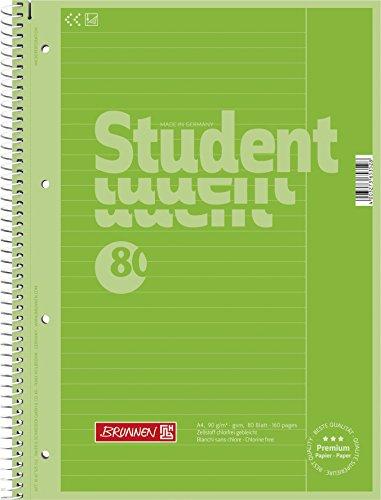 Brunnen - Cuaderno escolar con encuadernación en espiral, 4 orificios, 25 líneas, 90 g/m², tamaño A4