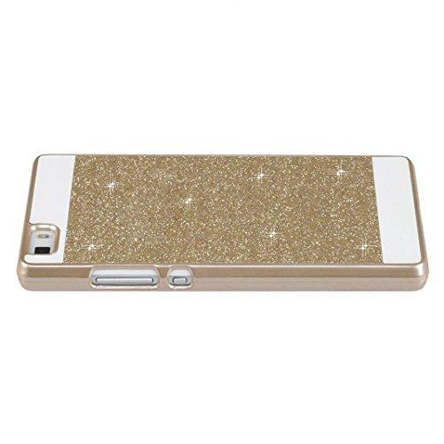 Custodia Huawei P8 Lite 2016, Huawei P8 Lite Cover, Asnlove Premium Bling Glitter Rigida PC Case Ultra Sottile Piena Protezione PC Shell Duro Retro Custodia Cellulare Cover Case Protettiva in Argento/Oro