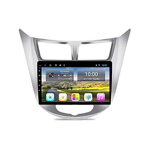Coche Estéreo GPS Navegación para Hyundai Solaris Accent Verna 2011-2017 Unidad Cabeza 1080P 9 Pulgadas Pantalla Táctil Player Multimedia Radio Bluetooth SWC WiFi Espejo Enlace,8 Core 4g+WiFi: 2+32gb
