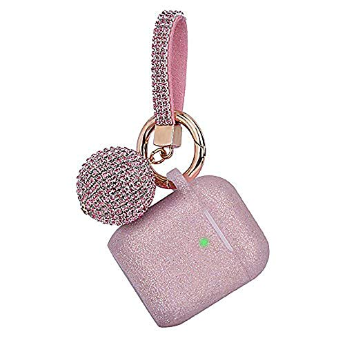 Case for Airpods, Filoto Bling Airpod Silicone Case Cover Skin, Air Pods Protective Glitter Case with Shiny Disco Ball Keychain, Scratch Proof and Drop Proof for Apple Airpods 2&1 (Glittery Rose Gold)