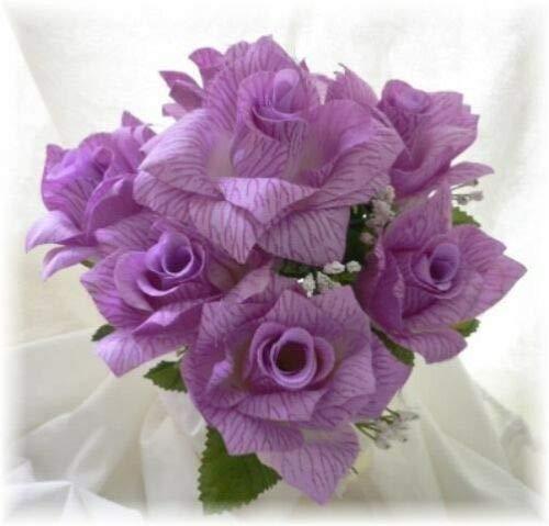 84 Open Roses Lavender Lilac Wedding Rose Bouquet Silk Centerpieces DIY Flowers