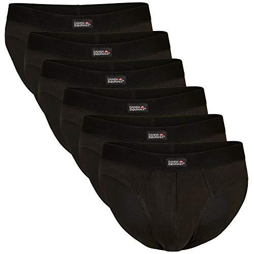 DANISH ENDURANCE Herren Slip aus Baumwolle, ohne kratzende Etiketten, Schwarz, Grau, Weiß, 6 Pack (Schwarz, XX-Large)
