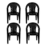 Plastic Garden Chairs - BLACK Set of 4 - Stackable with Woven Detail Low Back Design - Indoor or Outdoor Use - Suitable for Patio, Parties, Picnics or Camping.