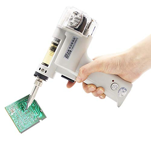 Huanyu Double-Pump Desoldering Gun Desolder 100W Lead-free Soldering Tin Gun Electric Vacuum Pump Solder Sucker Soldering Welding Tool for DIY Electronic Repair Work (110V Model, 1.0mm)