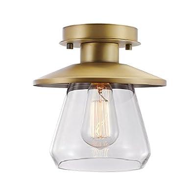 Globe Electric Merton 3-Light Semi-Flush Mount Ceiling Light, Dark Bronze, Brass Socket 60307