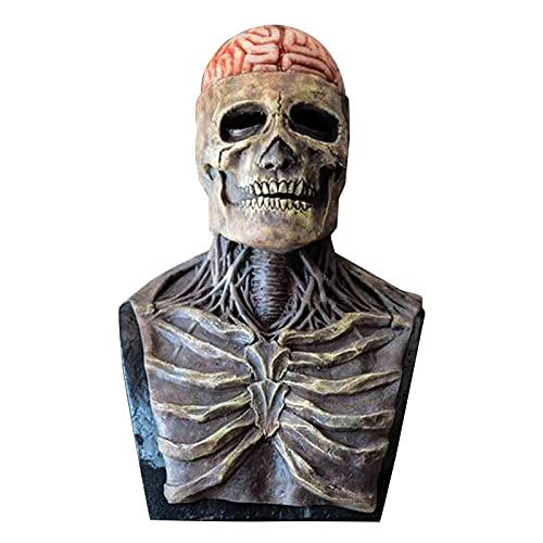 GOODTY Mscara de Esqueleto Divertida de Halloween, Casco de Calavera de Cabeza Completa con Mandbula Mvil, Casa Embrujada, Cosplay, Casco de cara Humana