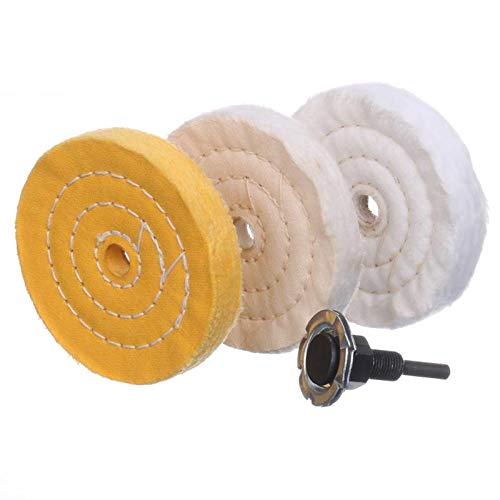 4 Inch 1 ultra fine cotton(30 Ply) 1 Treated Yellow Cotton (38 Ply) 1 Fine Cotton (50Ply) Buffing Polishing Wheel for Drill 1/2 inch Arbor Hole with 1/4'' Handle,3pcs