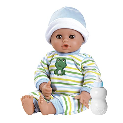 Adora Playtime Little Prince 13 inch Baby Boy Doll with embroidered frog sleeper, hat and bottle