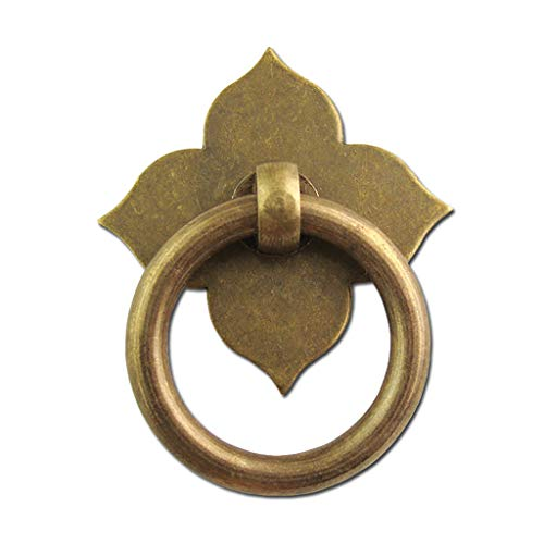 Small Copper Handle 6 Pcs Chinese Style Four-Leaf Clover Single Hole Ring Handle Antique Wooden Box Cupboard Drawer Dresser Ring Handle Knobs Cabinet Pull Jewelry Box Handle in Bronze 9/2