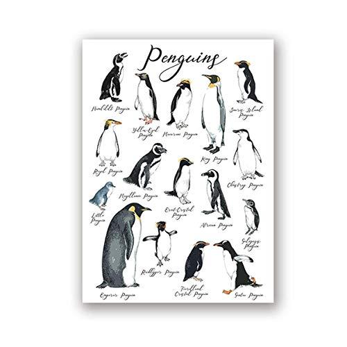 WSHIYI World Penguins Wandkunst Poster Drucke Niedliche Kinderzimmer Dekor Kinderzimmer Tier Gefährdete Arten Leinwand Malerei Bild / 42x60cm (16.5x23.6 Zoll) Kein Rahmen