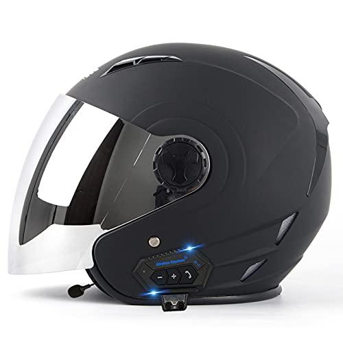 Mawwanta Casco portátil de Motocicletas, Casco de Scooter de Cara Abierta con Auriculares Bluetooth Casco de Moto de Bicicleta eléctrica Adecuado para protección contra conducción al Aire Libre