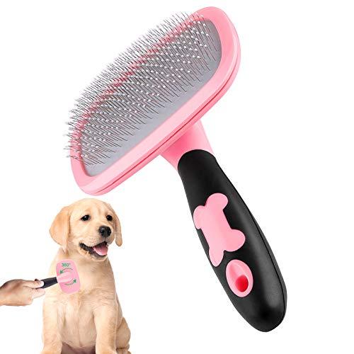 Makerfire Spazzola per Cani Cane Gatto Conigli Toelettatura Pennello per Animali Grandi o Piccoli con Pelo Lungo o Corto-Rosa