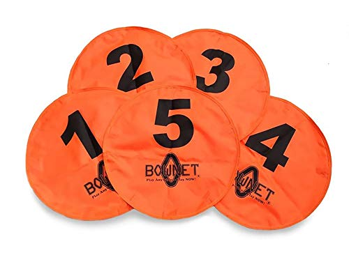 Bownet Football Quarterback Practice Targets - Five Numbered Zones for Drills, Throwing, Precision Training - Durable Nylon - Adhere to Practice Nets with Hook and Loop Tabs - Pack of 5