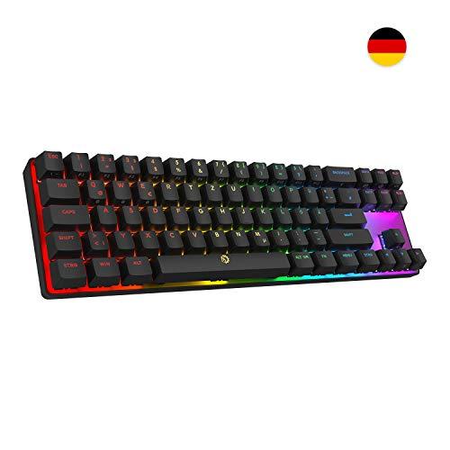 DREVO Calibur 72 Tasten tenkeyless Mechanische Tastatur mit RGB Hintergrundbeleuchtung, mit kabellosem Bluetooth 4.0 angeschlossen, QWERTZ deutsches Layout (Blau-Schalter, Schwarz)