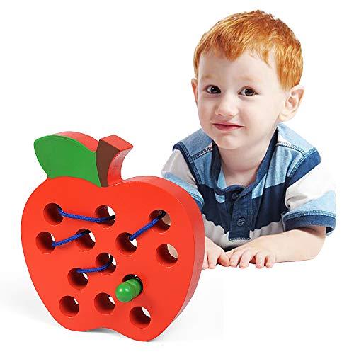 LEADSTAR Fädelspielzeug, Montessori Spielzeug Holzspielzeug Apfel Motorikspielzeug Reise Spiel Früh Lernen Feinmotorik Pädagogisches Geschenk für 1 2 3 Jahre alt Kleinkinder Kinder Baby Mädchen Jungen