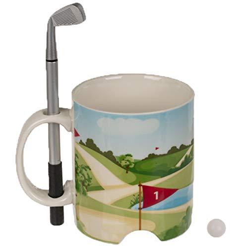 Bada Bing Originelle Tasse Golfplatz Mit Schläger und Golfball Füllmenge Ca. 200 ml Bürotasse Kaffeetasse Mit Golfschläger Als Kugelschreiber Geschenk Für Kollegen Golfer 45