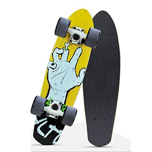 VOMI Skateboard Kinder Cruiser Komplettboard 66×18Cm 7 Etagen Kanadischem Ahornholz Deck, ABEC-9 Kugellager, Komplett-Board Mit Tollen Features Für Einsteiger, Complete Penyboard Longboard